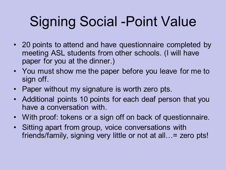 Signing Social -Point Value