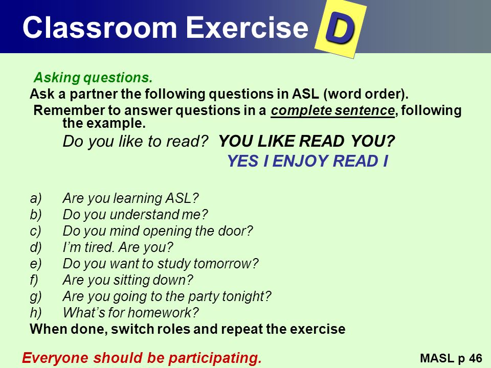 D Classroom Exercise YES I ENJOY READ I