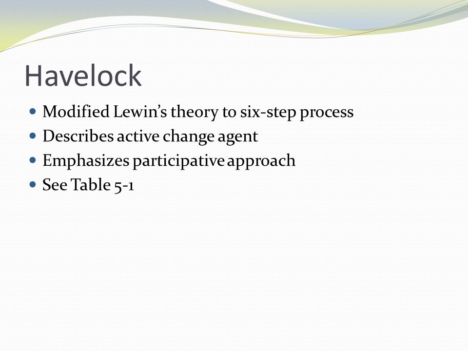 Havelock Modified Lewin's theory to six-step process