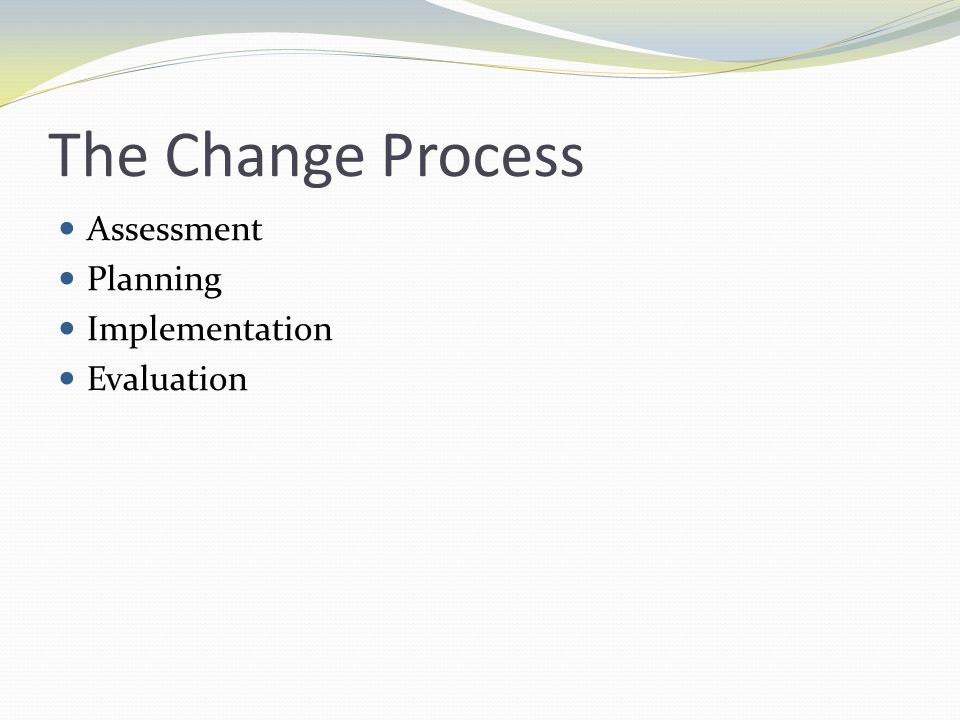The Change Process Assessment Planning Implementation Evaluation