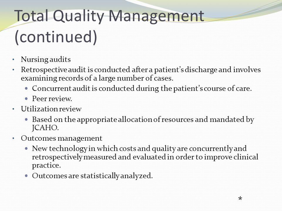 Total Quality Management (continued)