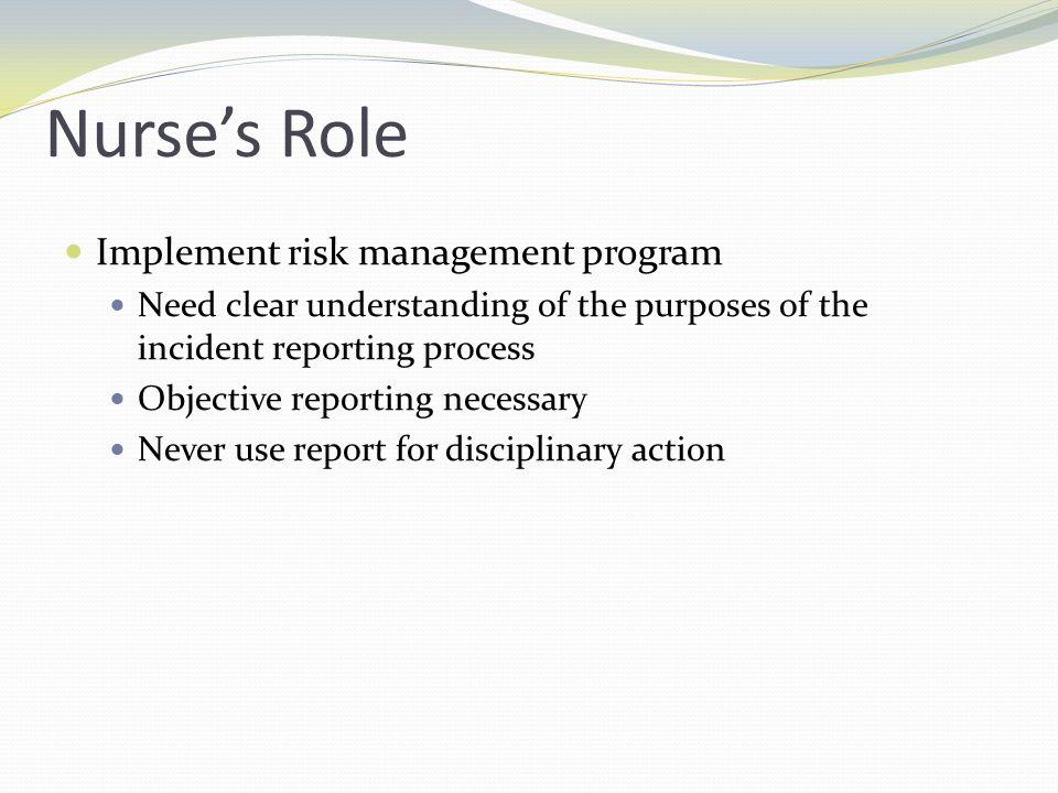 Nurse's Role Implement risk management program