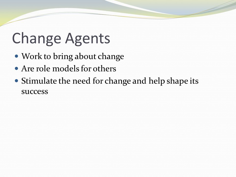 Change Agents Work to bring about change Are role models for others