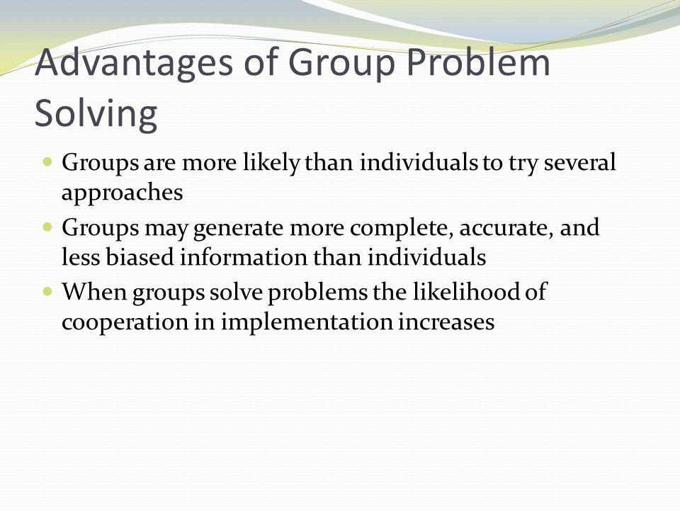 Advantages of Group Problem Solving