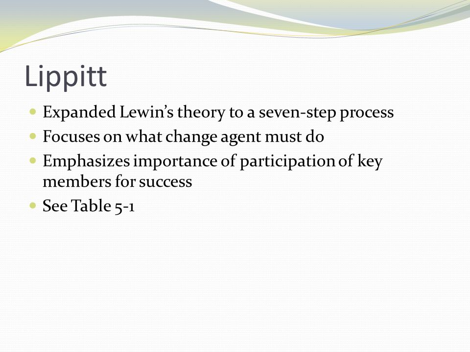 Lippitt Expanded Lewin's theory to a seven-step process