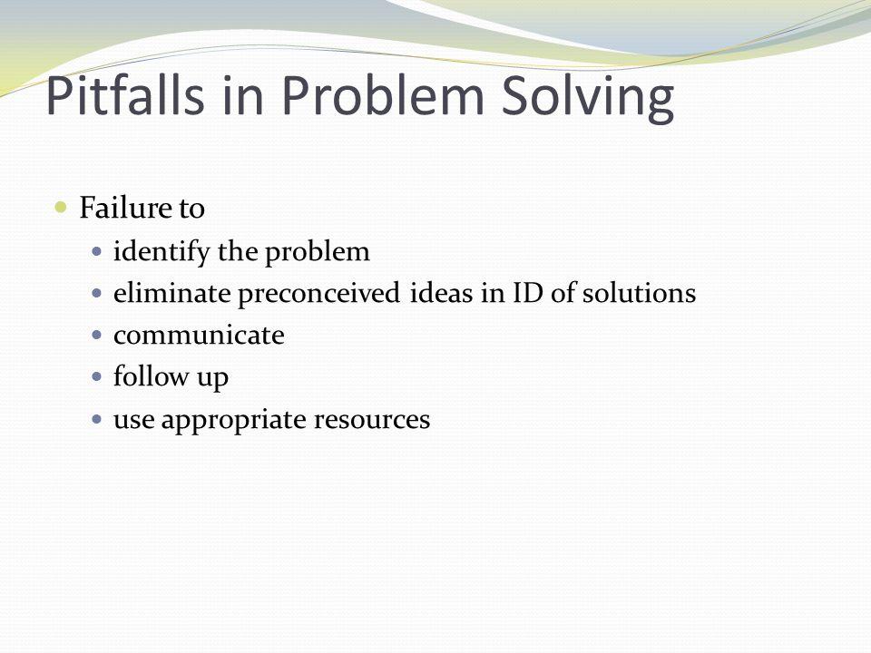 Pitfalls in Problem Solving