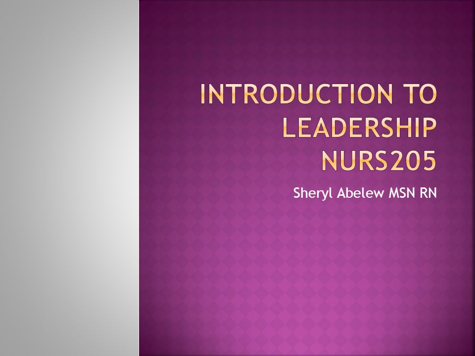 Introduction to Leadership NURS205
