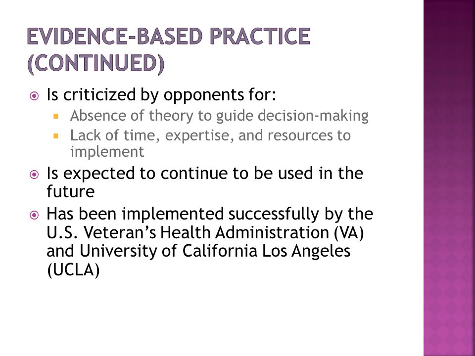 Evidence-Based Practice (continued)