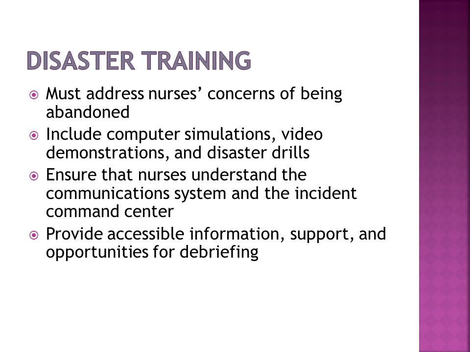 Disaster Training Must address nurses' concerns of being abandoned