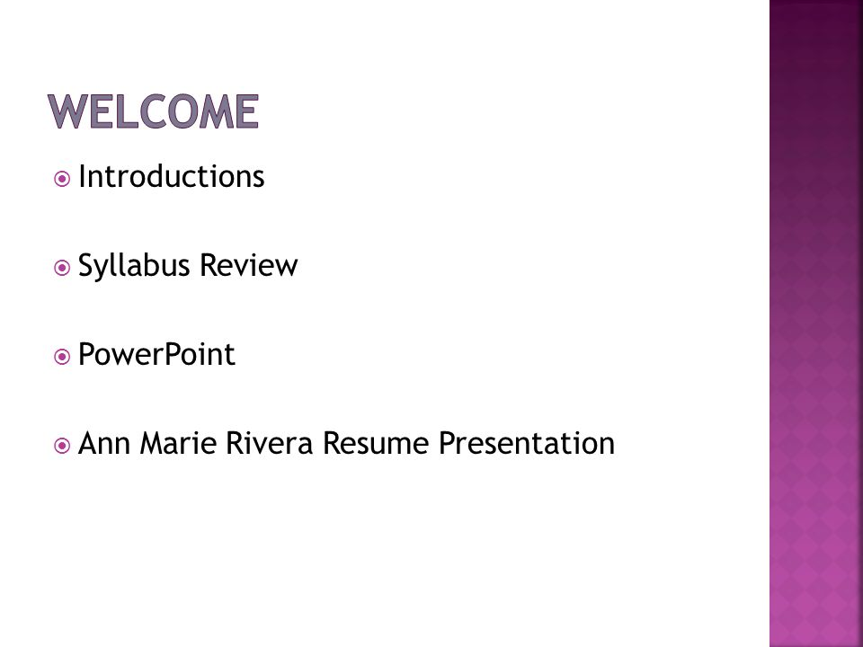 Welcome Introductions Syllabus Review PowerPoint