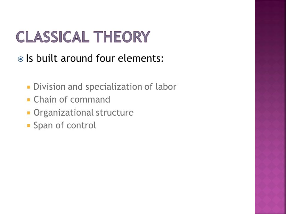 Classical Theory Is built around four elements: