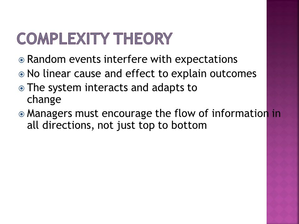 Complexity Theory Random events interfere with expectations
