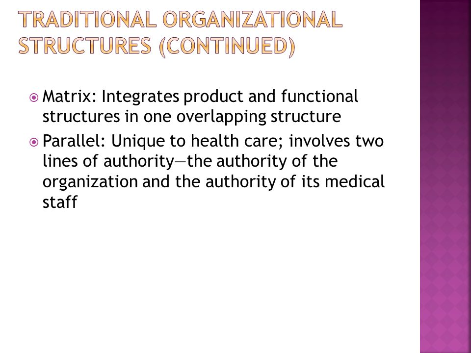 Traditional Organizational Structures (continued)