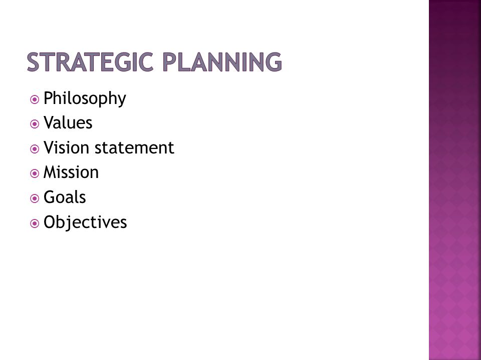 Strategic Planning Philosophy Values Vision statement Mission Goals