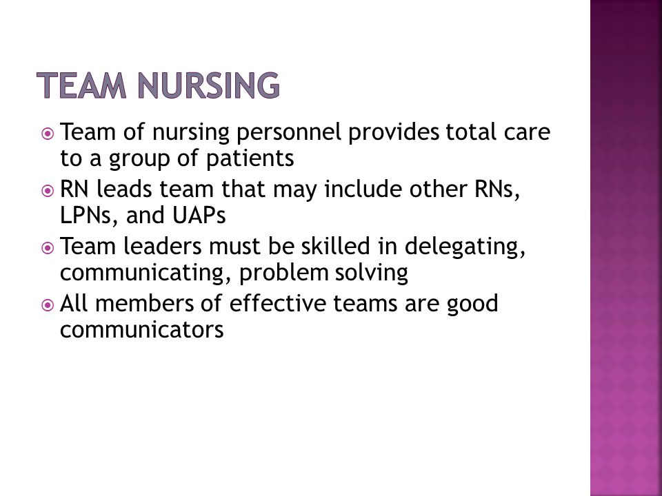 Team Nursing Team of nursing personnel provides total care to a group of patients. RN leads team that may include other RNs, LPNs, and UAPs.
