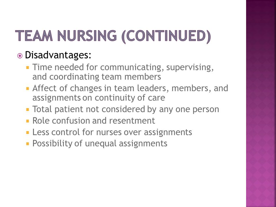 Team Nursing (continued)