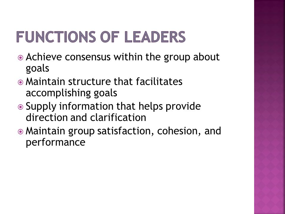 Functions of Leaders Achieve consensus within the group about goals