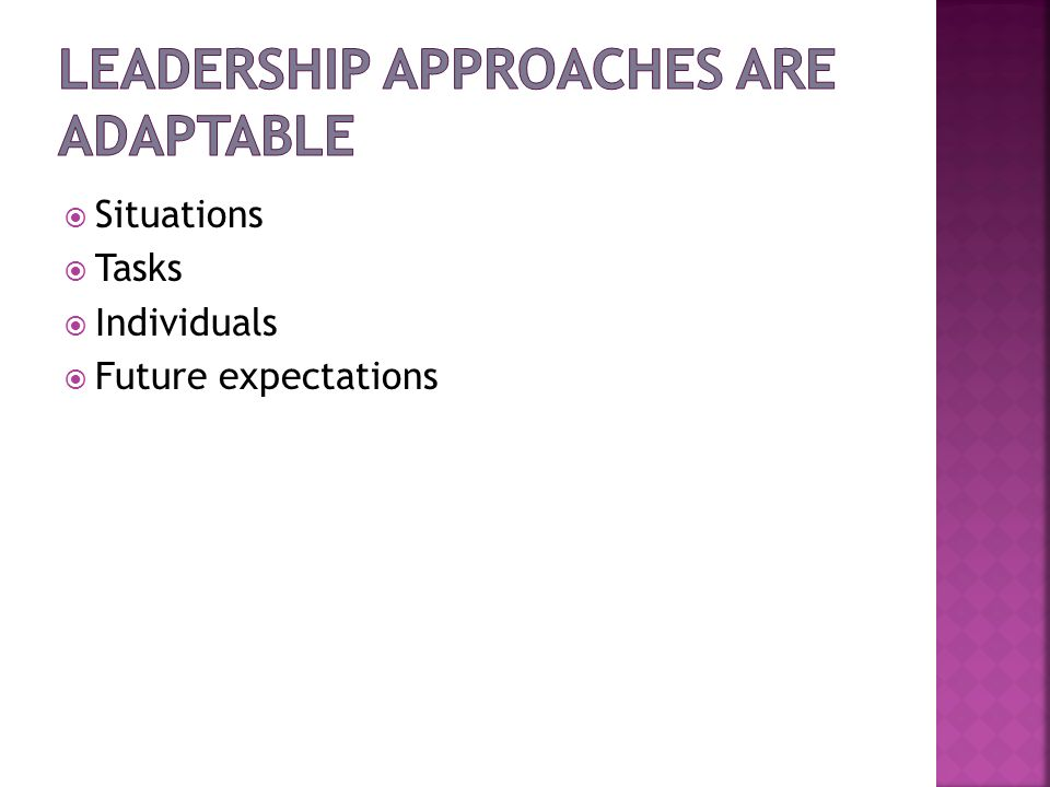 Leadership Approaches are Adaptable