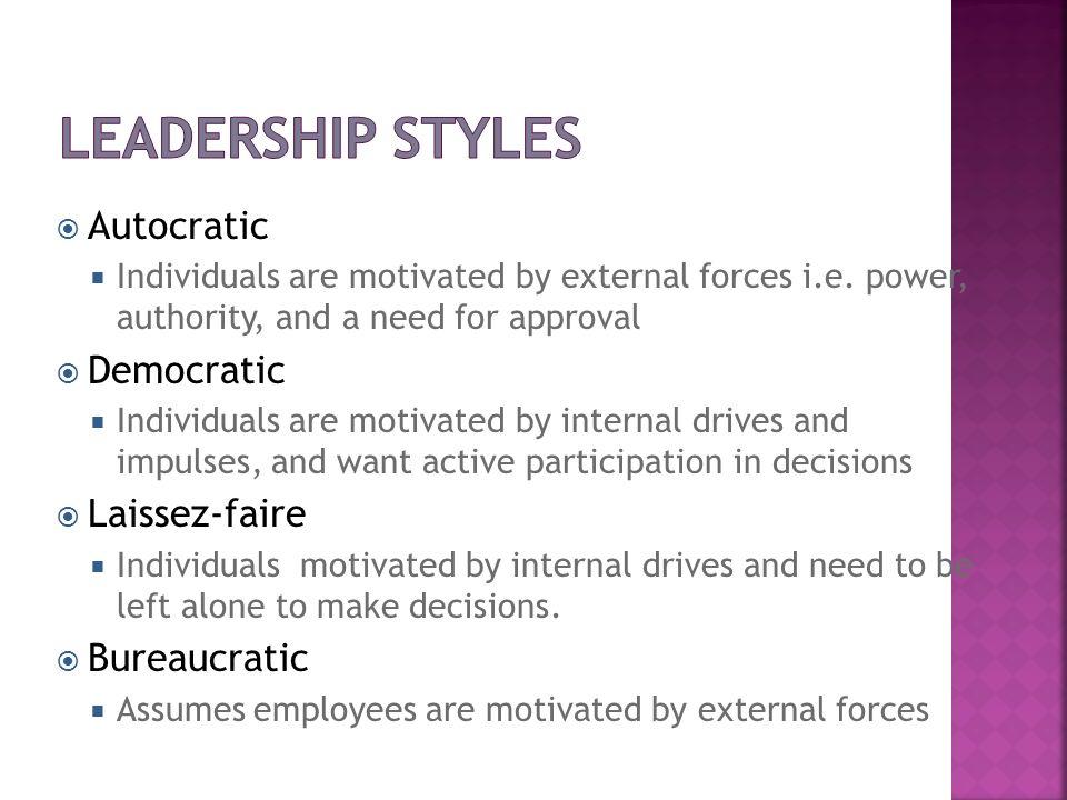 Leadership Styles Autocratic Democratic Laissez-faire Bureaucratic