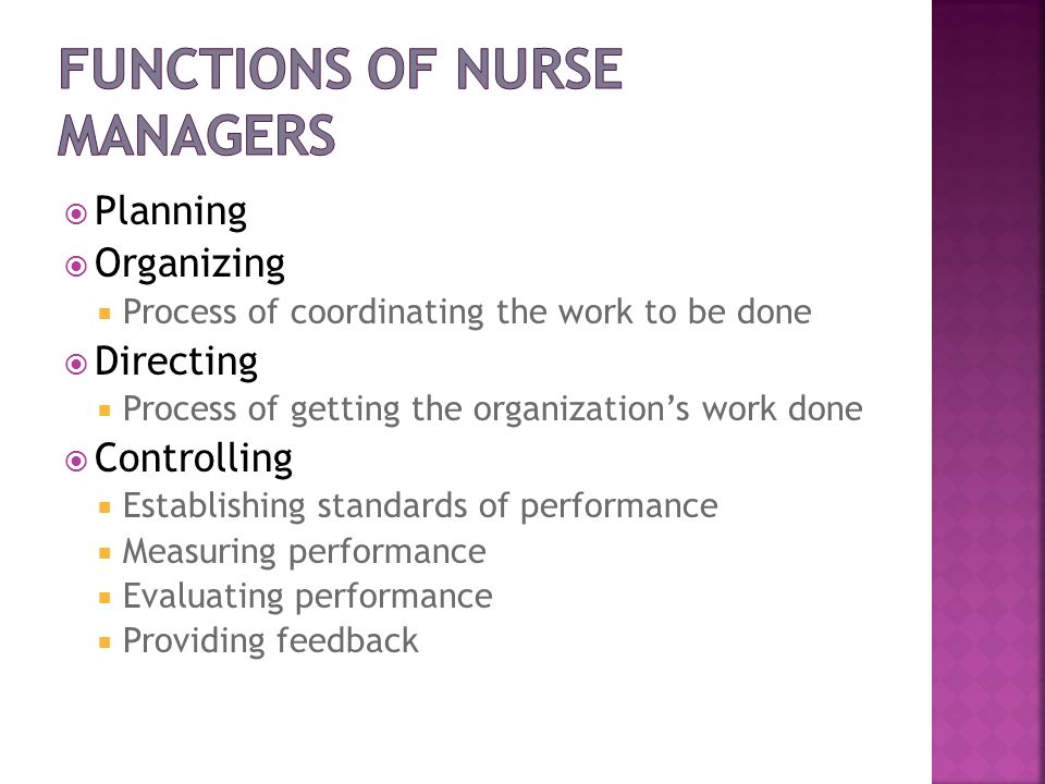 Functions of Nurse Managers