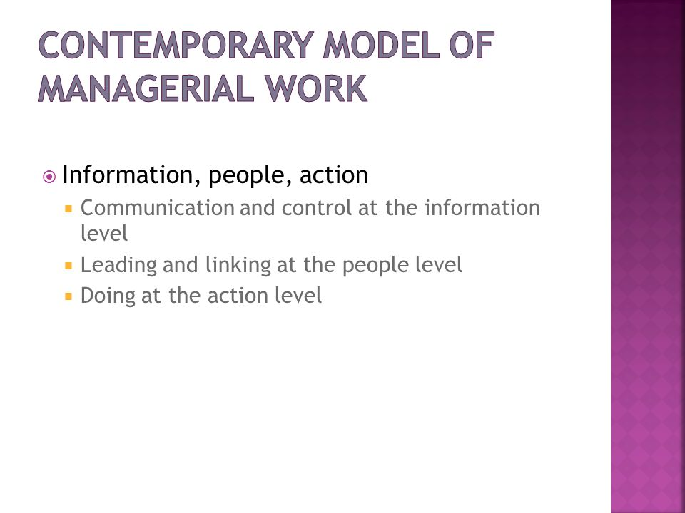 Contemporary Model of Managerial Work