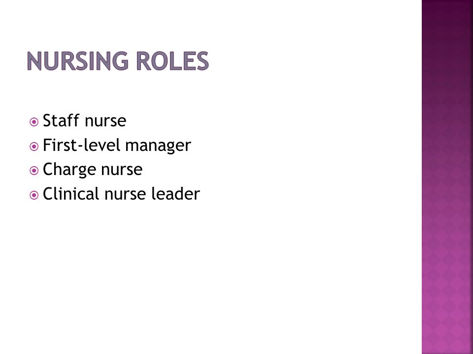 Nursing Roles Staff nurse First-level manager Charge nurse