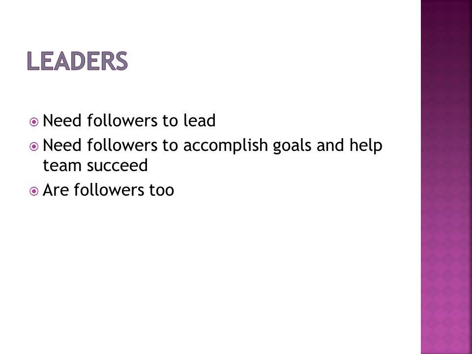 Leaders Need followers to lead