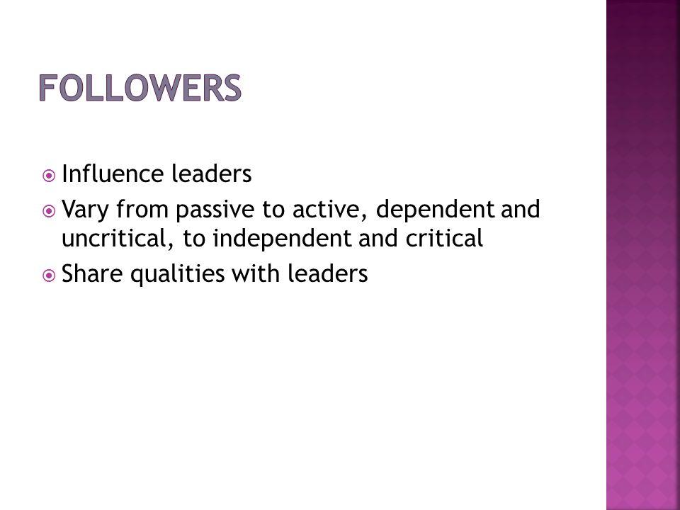 Followers Influence leaders