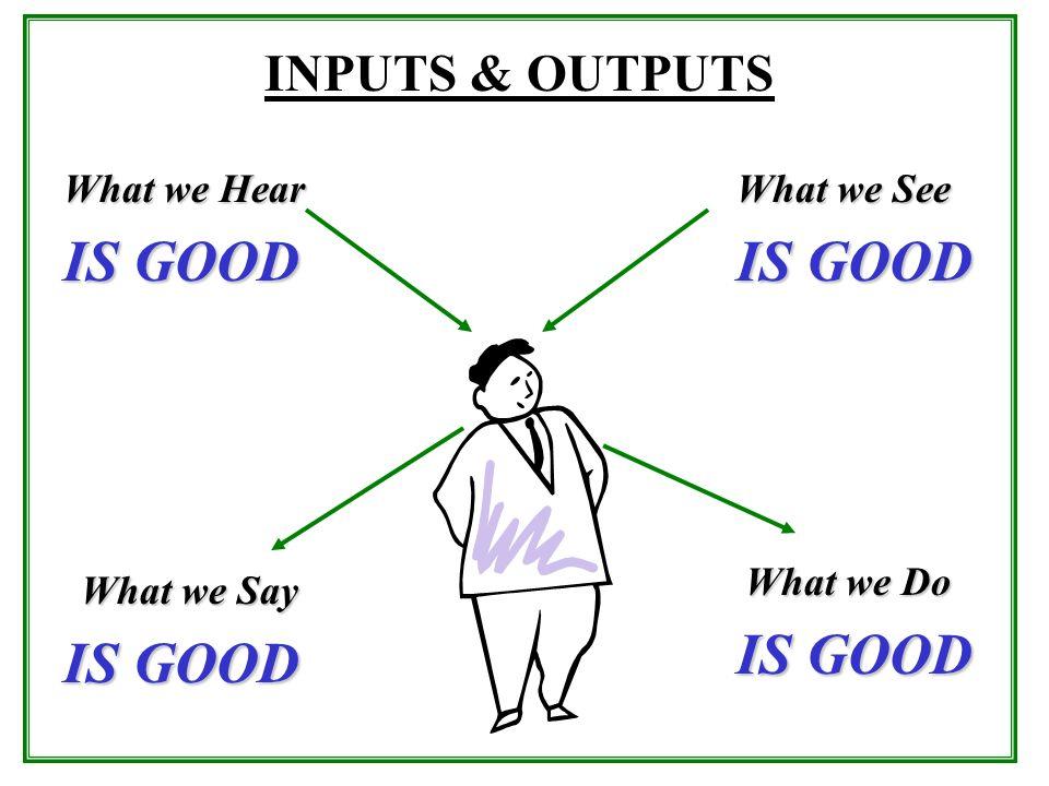 IS GOOD IS GOOD IS GOOD IS GOOD INPUTS & OUTPUTS What we Hear