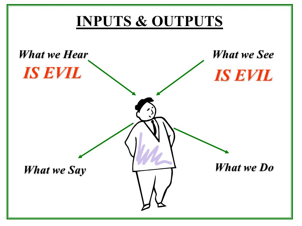 IS EVIL IS EVIL INPUTS & OUTPUTS What we Hear What we See What we Do