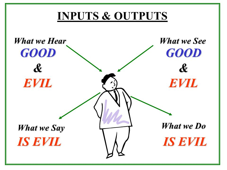 GOOD & EVIL GOOD & EVIL IS EVIL IS EVIL INPUTS & OUTPUTS What we Hear