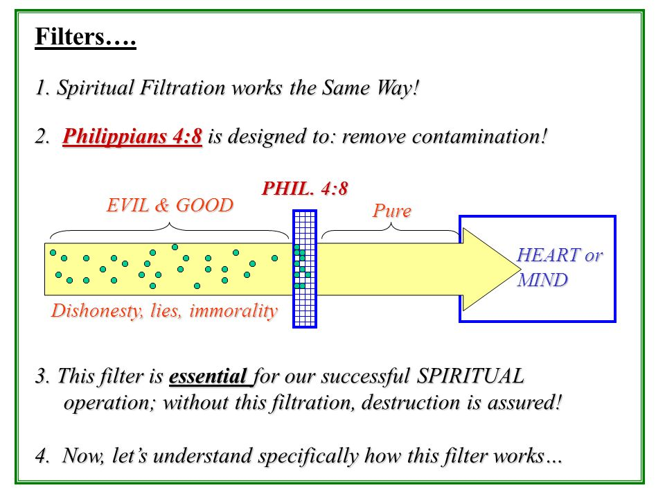 Filters…. 1. Spiritual Filtration works the Same Way!