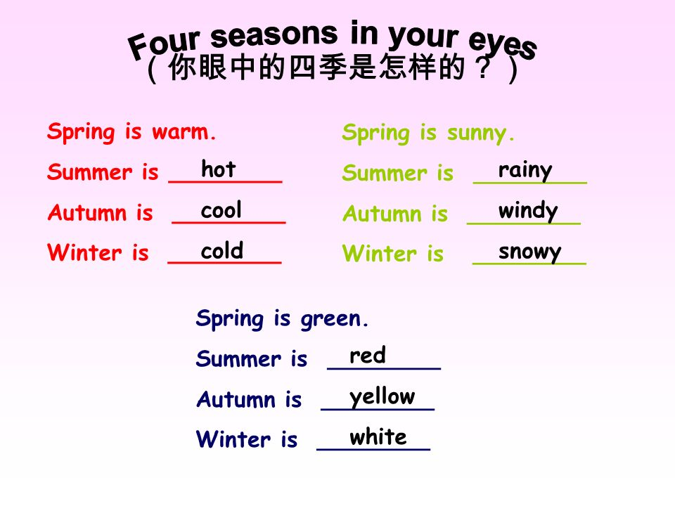 Four seasons in your eyes