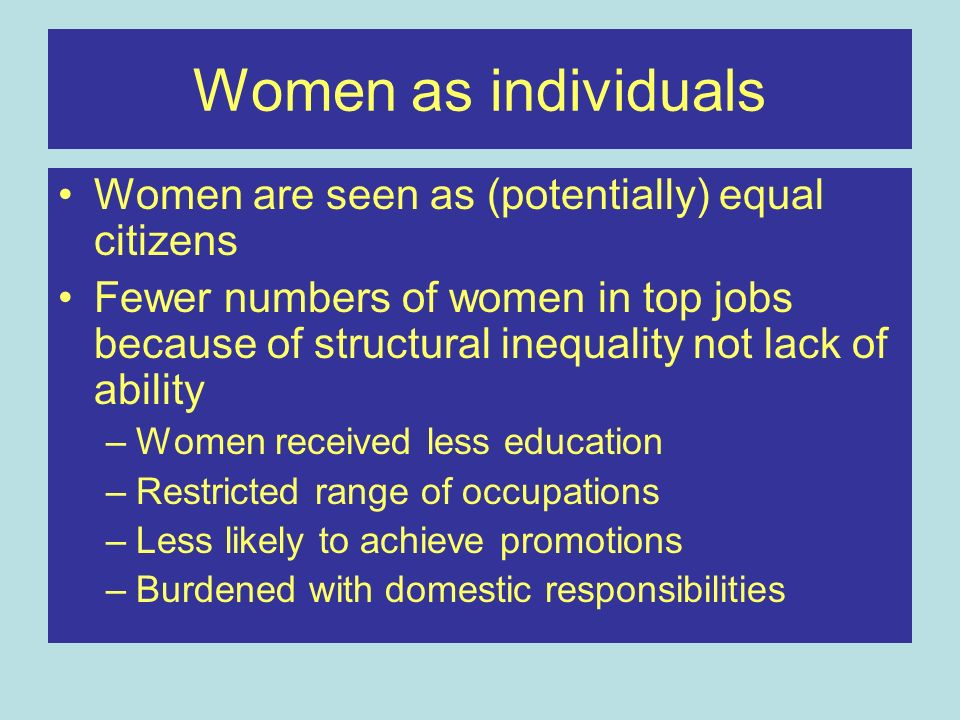 Women as individuals Women are seen as (potentially) equal citizens