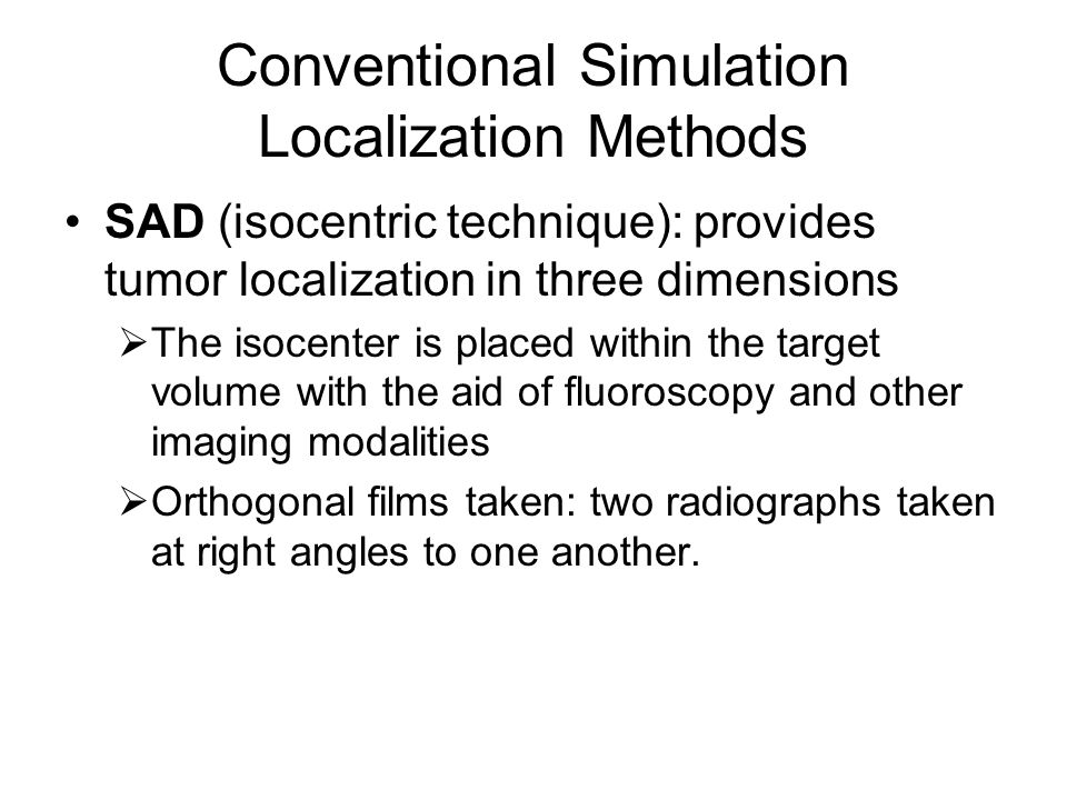 Conventional Simulation Localization Methods