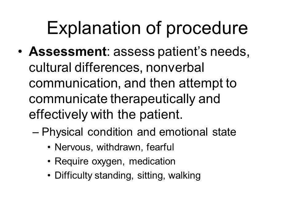 Explanation of procedure