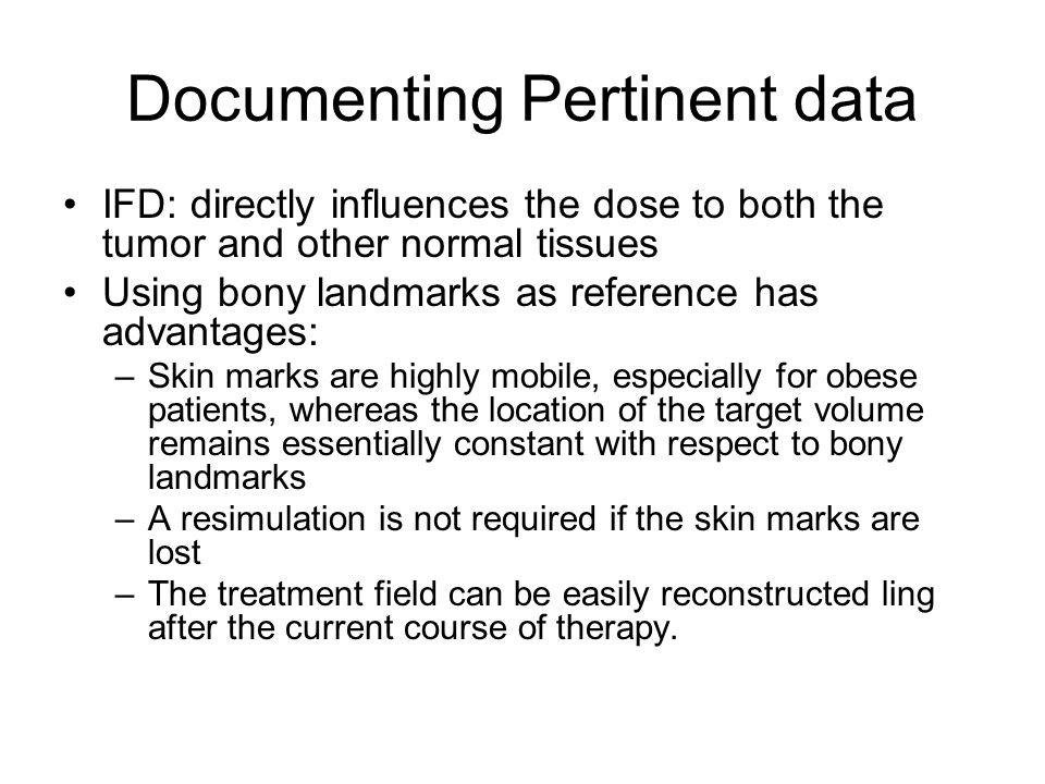Documenting Pertinent data