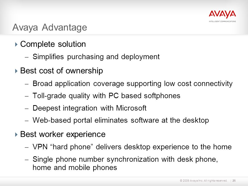 Avaya Advantage Complete solution Best cost of ownership