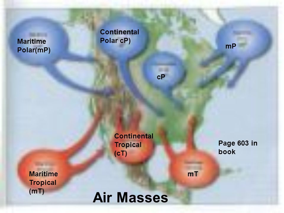 Air Masses Continental Polar cP) Maritime Polar(mP) mP cP