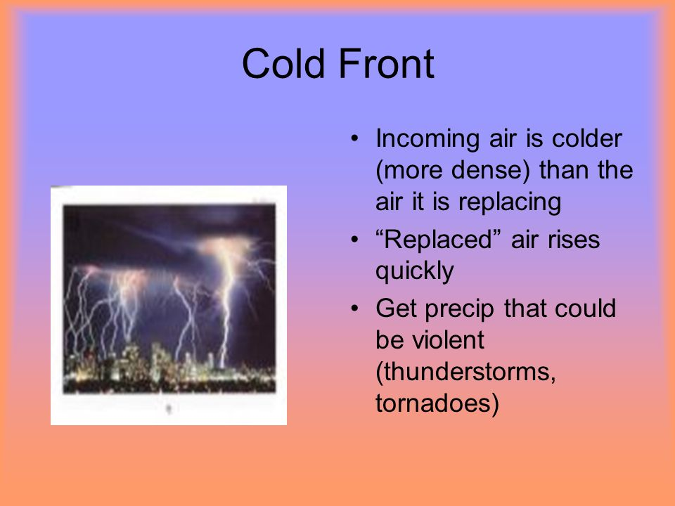 Cold Front Incoming air is colder (more dense) than the air it is replacing. Replaced air rises quickly.