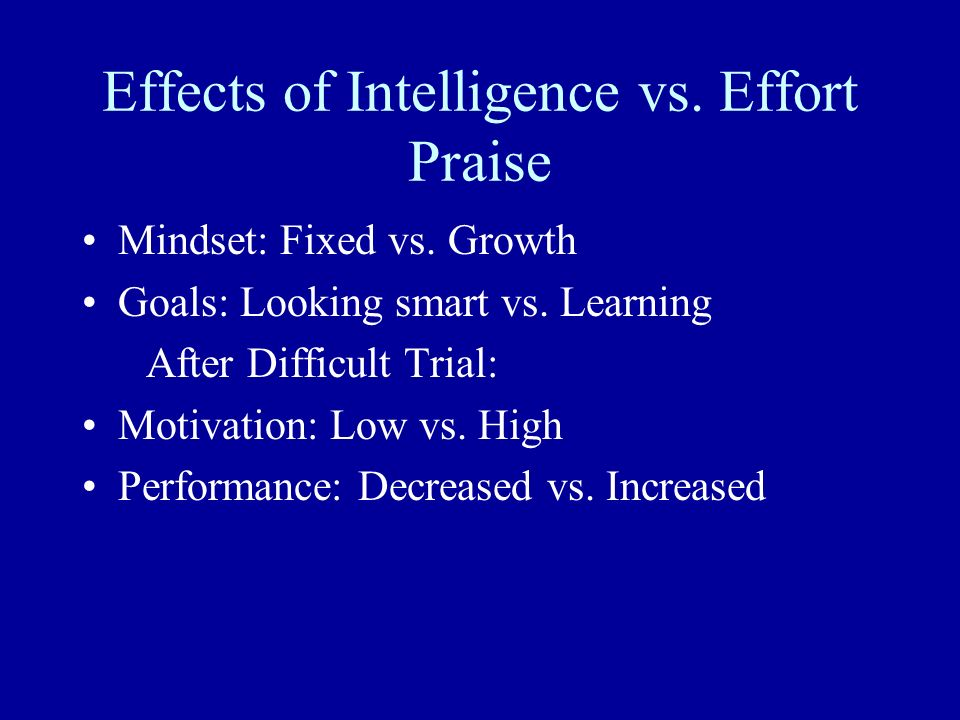 Effects of Intelligence vs. Effort Praise