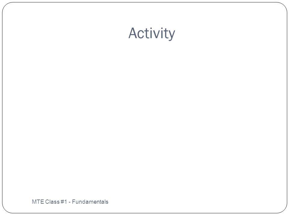 Activity MTE Class #1 - Fundamentals