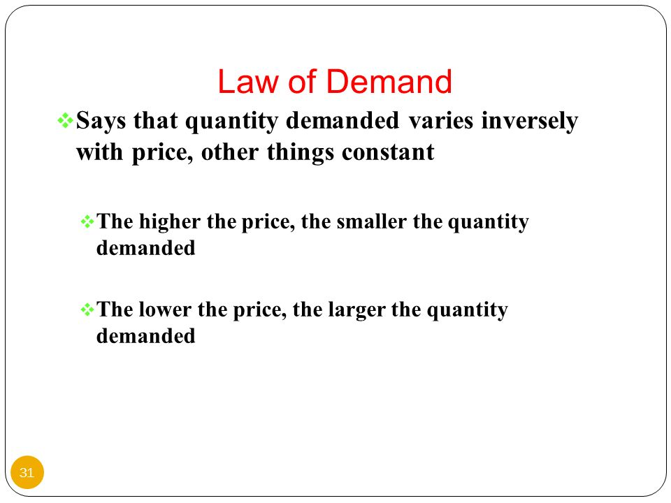 Law of DemandSays that quantity demanded varies inversely with price, other things constant.