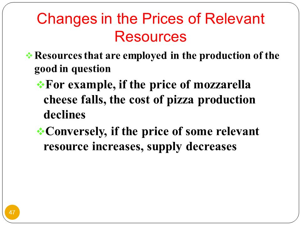 Changes in the Prices of Relevant Resources