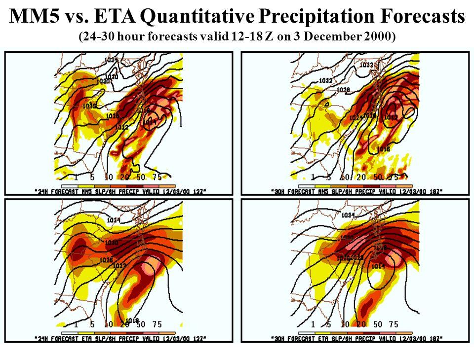 MM5 vs. ETA Quantitative Precipitation Forecasts (24-30 hour forecasts valid 12-18 Z on 3 December 2000)