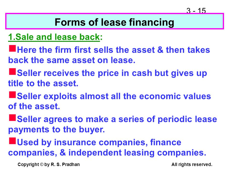 Forms of lease financing