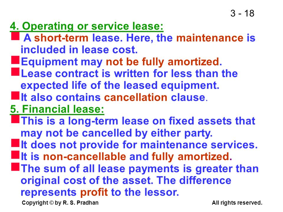 4. Operating or service lease: