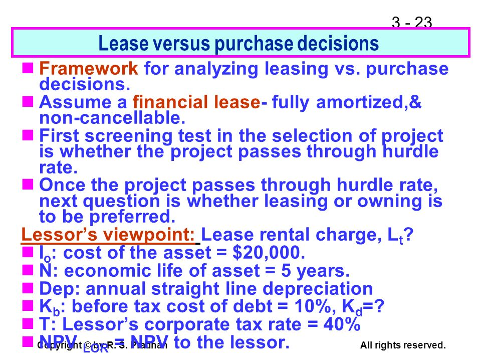 Lease versus purchase decisions