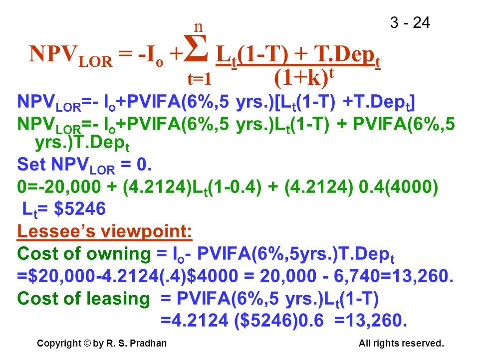 NPVLOR = -Io +Σ Lt(1-T) + T.Dept