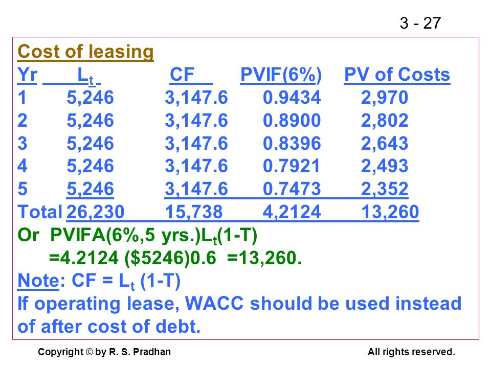 Cost of leasing Yr. Lt. CF. PVIF(6%) PV of Costs 1. 5,246. 3,147. 6